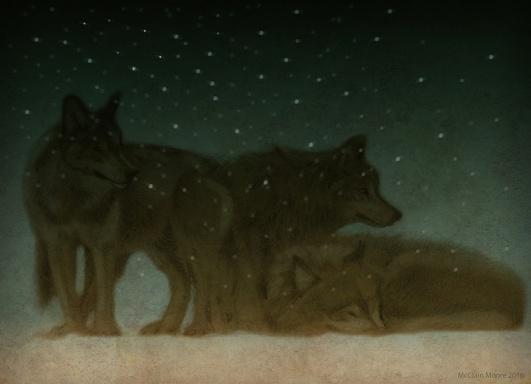 Three Wolves at Dusk